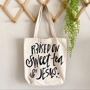 Sweet Tea & Jesus Canvas Tote